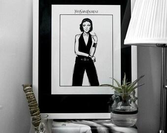 Fashion Illustration Print: Mariacarla Boscono for YSL S/S 2012 (Black & White)
