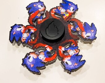 Blue Blur Laser Cut Six Frame Animated Spinner **AS SEEN ON TikTok** (Please Read Description Before Buying)
