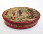 Very large Tin Box French antique Tole Painted Roman scene 14 quot x 10 quot x 4 quot