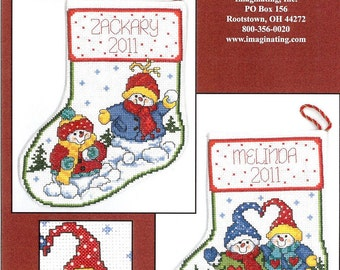 ETSY BIRTHDAY SALE Imaginating Snowbaby Sweethearts Cross Stitch Pattern