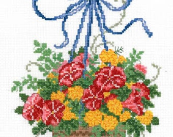 ETSY BIRTHDAY SALE Imaginating Floral Basket Cross Stitch Pattern