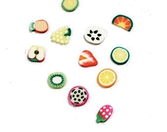 ETSY BIRTHDAY SALE Fruit Slices Ramdom Mix Clay Cane Crafts/Nail art