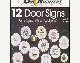 ETSY BIRTHDAY SALE One Nighters 12 Door Signs Counted Cross Stitch Pattern