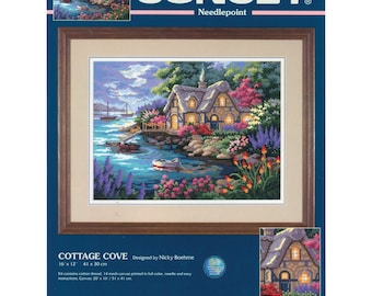 """ETSY BIRTHDAY SALE Cottage Cove Needlepoint Kit-16""""X12"""" Stitched In Floss"""