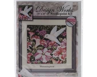"ETSY BIRTHDAY SALE Hummingbird Needlepoint Kit 10""X10"" Stitched In Yarn"