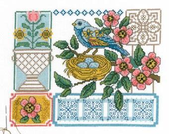 ETSY BIRTHDAY SALE Imaginating Blue Bird Floral Cross Stitch Pattern