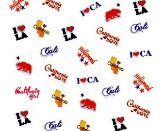 ETSY BIRTHDAY SALE California Scrapbooking Stickers/ Nail Decals