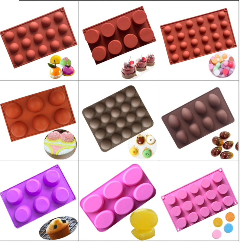 Round Silicone Mold for Soap Chocolate Molds Round Cake Baking Bakeware Tool Handmade Soap Mould Pastry Moulds