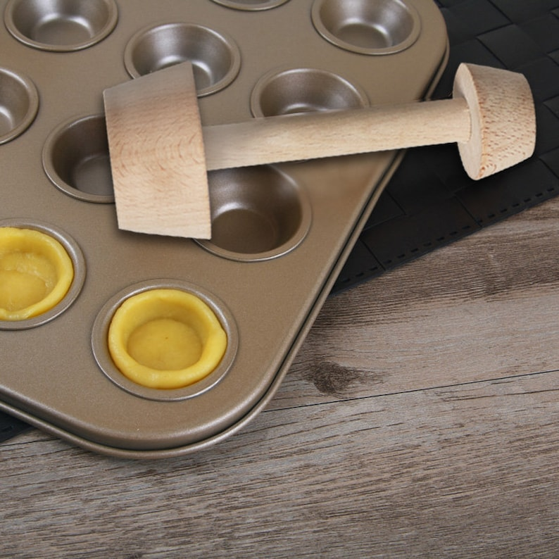 Wood Tart Tamper Double Side Wooden Pastry Egg Tart Pusher Baking Cake Kitchen Tools