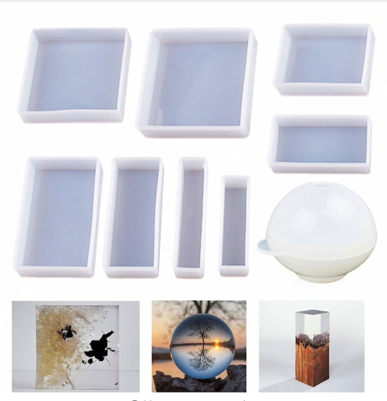 9pcs Different Sizes,Silicone Mold, Casting Epoxy Molds For Resin Jewelry  Casting Molds Silicone Square Rectangle Ball Molds