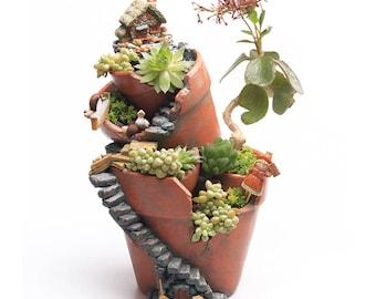 Creative Resin Flower Pot Succulent Plants Pot Micro-landscape Flowerpot Fairy Garden Bonsai Planter Home Garden Decoration