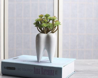 Tooth Shape White Ceramic Flower Pot Modern Design Planter Teeth Model Mini  Desktop Pot