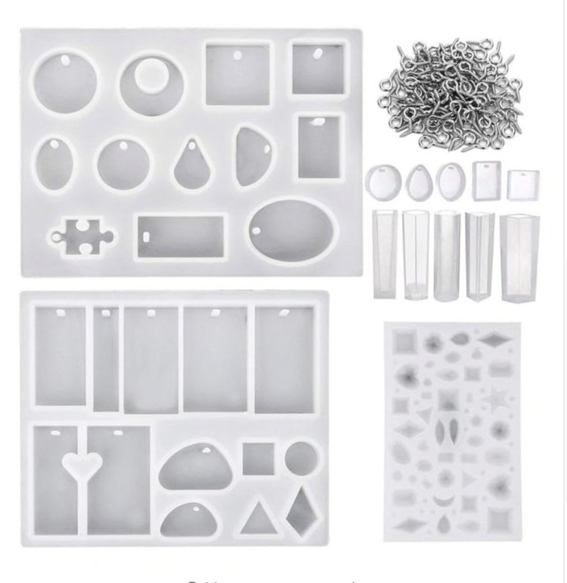 13 Pieces Assorted Designs Resin Casting Molds Silicone Jewelry Making Molds Set with 100 Pieces Mini Screw Eye Pins for Jewel