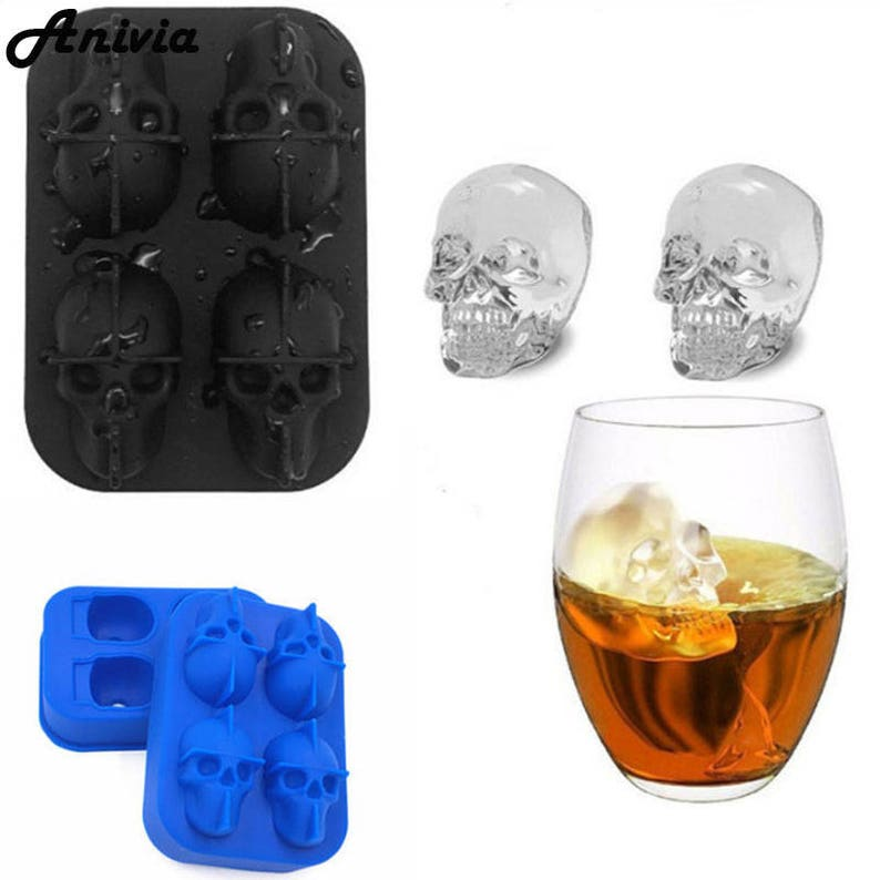 3D Skull Ice Cube Tray Silicone Candy Chocolate Maker Mould for Cocktails