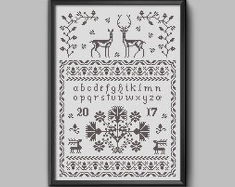 The Stag, the Doe & the Autumn - Traditional folk embroidery art sampler w/deer motif for cross stitch pdf pattern