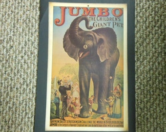 Jumbo Circus Elephant Vintage Print Reproduction Poster Early Barnum & Bailey Victorian Art Nostalgia