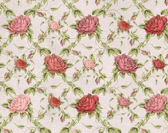 La Vie en Rose Trellis Pale Gray - Mirabelle collection Santoro Quilting Treasures - by the continuous YARD