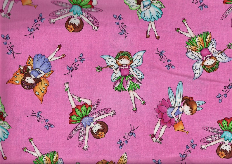 Fairy Land fabric  Allover Fairies pink   Studio e  by the image 0
