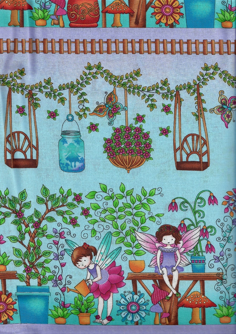 Fairy Land fabric  border stripe  fairies tending flower image 0