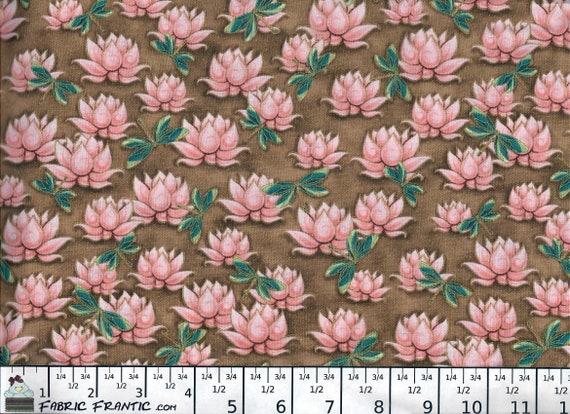 Yuna Calm Kimmedoll BTY Quilting Treasures Asian Flower Geo Tan Brown