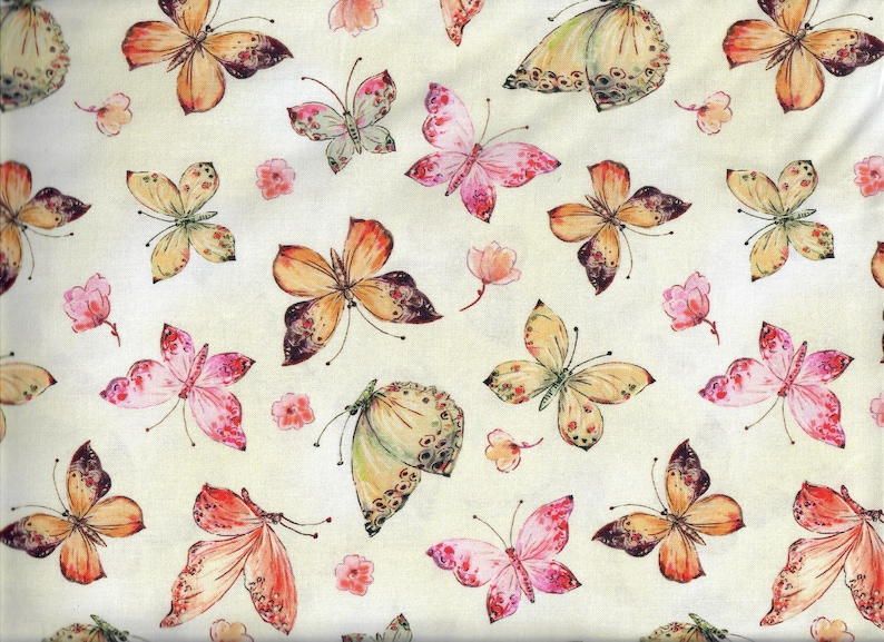 Floral Study All Over Butterfly fabric  cream yellow pink image 0