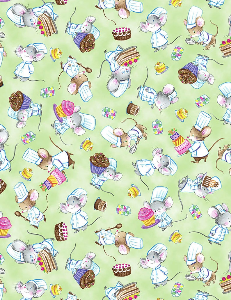Chef Mice Toss Fabric  green retro cooking baking cakes image 0