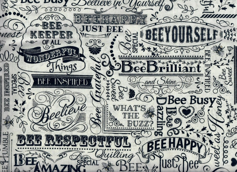 Hive Rules Bee Words fabric  inspiring empowering positive image 0
