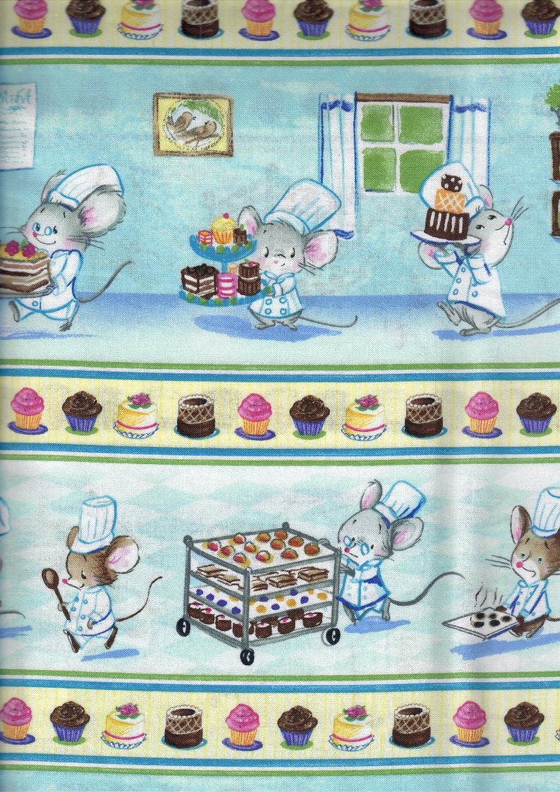 Chef Mice Border Stripe Fabric  retro cooking baking cakes image 0