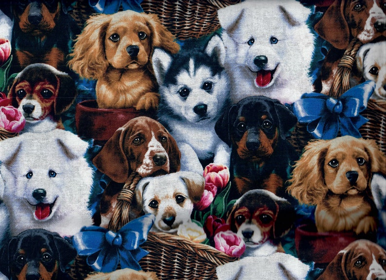 Valentine's Puppies fabric  dogs and flowers Spaniel image 0