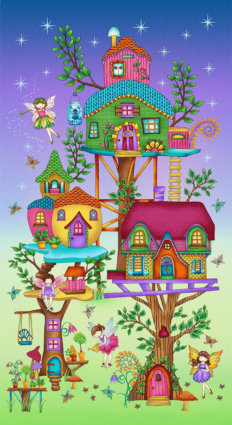 Fairy Land fabric  24 x 44 fairy tree house quilting panel image 0