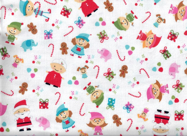 Santa's Workshop flannel fabric  white  Mr. & Mrs. Claus image 0
