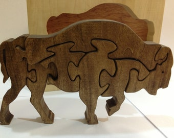 Wooden Bison Buffalo Puzzle- Freestanding 3D puzzle- Popular gift for Boy Scouts