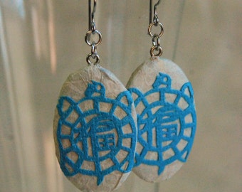 Blue Turtle Paper Earrings Oval Sky Blue Turquoise Aqua Tortoise Design Hypoallergenic hooks Lightweight Ear rings Blue Turtle Earrings
