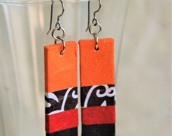Orange Red Black Hanji Paper Dangle Earrings OOAK Striped Patchwork Bright Colors Paper Earrings Hypoallergenic Lightweight Colorful