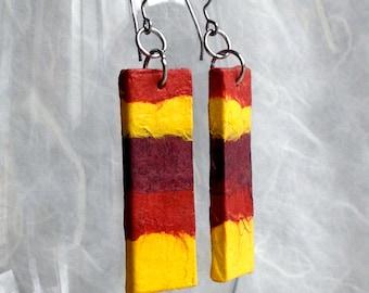 Boho Fire Hanji Paper Earrings OOAK Patchwork Brown Rust Yellow Hypoallergenic Earrings Lightweight Fall Color Earrings Fire Earrings