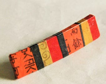 Small Patchwork Hanji French Barrette Hair Pin Striped Orange Red Black Sturdy Stainless Steel Barrette Ponytail pin Girl pin