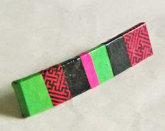 Small Patchwork Hanji French Barrette Hair Pin Striped Lime Green Black Red Hot Pink Sturdy Stainless Steel Barrette Ponytail pin Girl pin