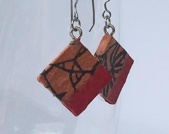 Small Red Brown Handmade Hanji Paper Dangle Earrings Diamond Earrings Red Brown Square Earrings Hypoallergenic Lightweight Korean Paper
