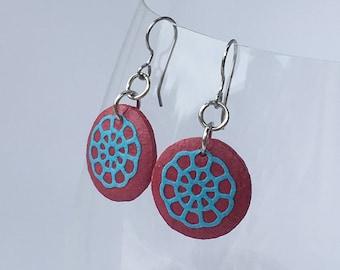 Small Red Round Hanji Paper Earrings Dangle Flower Wheel Design Flower Hypoallergenic hooks Lightweight Ear rings Lotus Flower Red Earrings