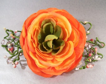 Orange Hombre Ranunculas Hair Comb with Whimsical Spay