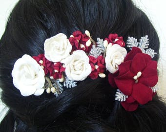 Chic Winter Crimson and Ivory Floral Hairpiece with Snowflakes on Budding Vines