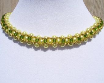 Vintage Chartreuse Pearl Beadwork Necklace Collar Choker Bib with Kelly Green and Gold Bead Accents