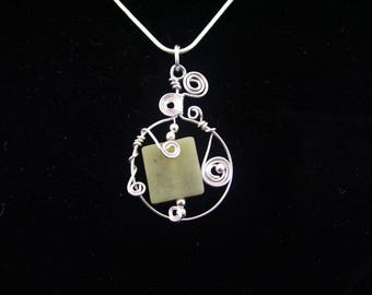 Green Jade Wire Wrapped Pendant Necklace