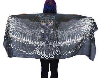 Charcoal Black Owl Scarf, Cotton, Sarong, Headwrap, Boho Shawl, Mardi Gras, Festival Scarf, Bridesmaid Gift, Symbolic Gift, Feathers shawl