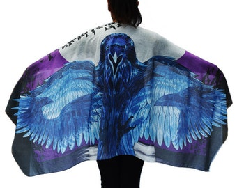 Raven Wings, Boho Scarf, Gothic Feathers Crow Scarf, Burning Man, Festival Wrap, Cosplay clothing, Unique gift. Original Australian Design