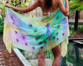 Special Women's Gift Silk Butterfly Wings Scarf, Sarong, Shawl, Bandana. Resort wear, Festival clothing. Printed & made in Australia