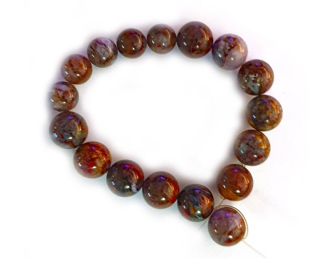 17 beads 1x Strand beautiful browns reds and greys 8mm /& 10mm Semi-Precious Beads