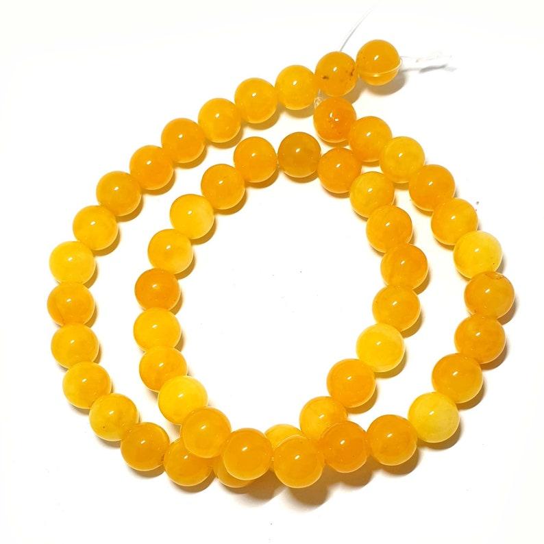 Brazil Yellow Jade Topaz Beads semiprecious bead strand x50 Pretty Brazil Yellow Jade Topaz Beads 8mm round beads centre drill