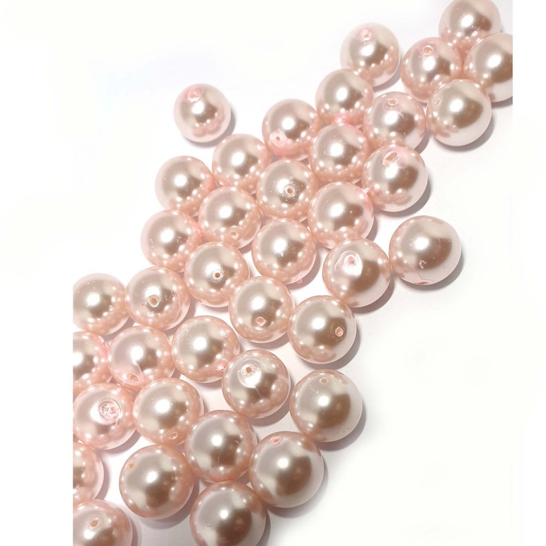 10mm Pretty pink glass pearls centre drill Pretty pink glass pearls 12mm pink pearls 8mm