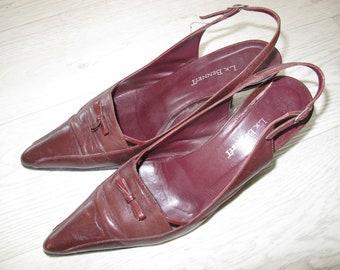 Kitten heels by L K Bennett, burgundy leather size 5 UK/ 37.5 EU